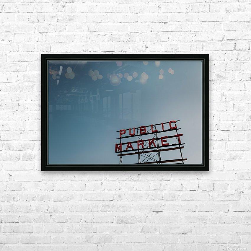 Seattle Public Market Sign HD sublimation métal imprimé avec décoration flotteur cadre (boîte)