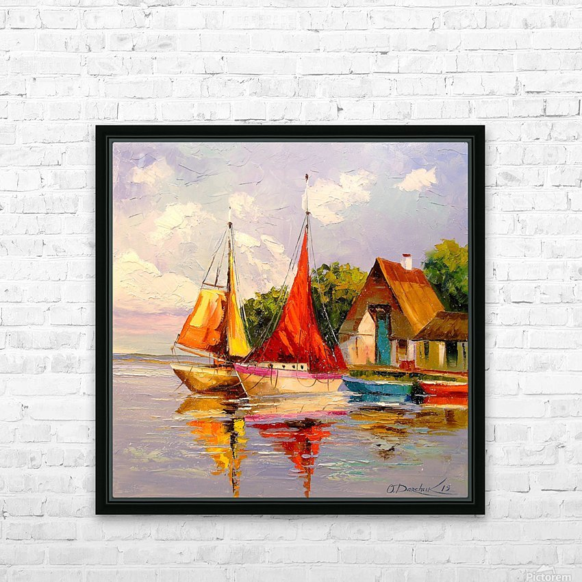 Sailboats near the shore HD Sublimation Metal print with Decorating Float Frame (BOX)