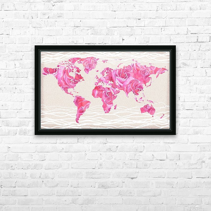 Pink Rose Petals Watercolor Map Of The World HD Sublimation Metal print with Decorating Float Frame (BOX)