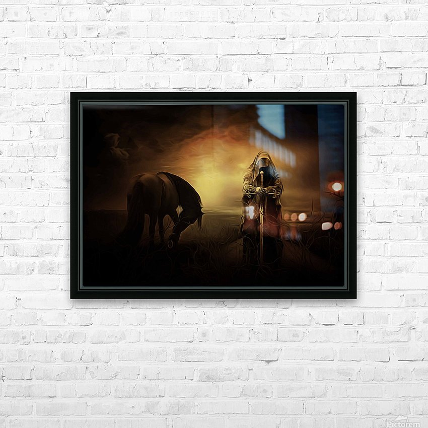 knight with light HD Sublimation Metal print with Decorating Float Frame (BOX)