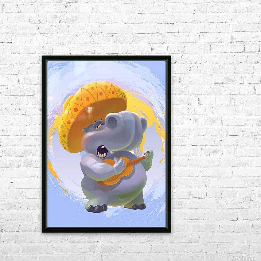 Hippopotamus mariachi HD Sublimation Metal print with Decorating Float Frame (BOX)