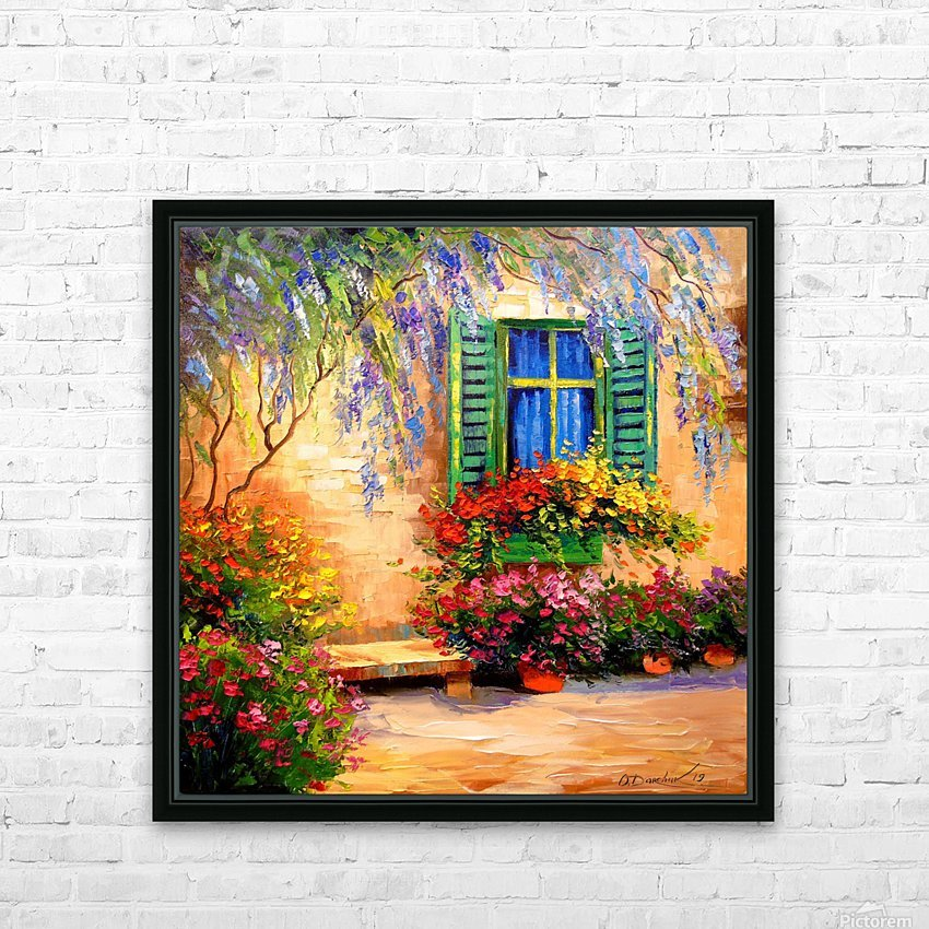 Blooming summer patio HD Sublimation Metal print with Decorating Float Frame (BOX)