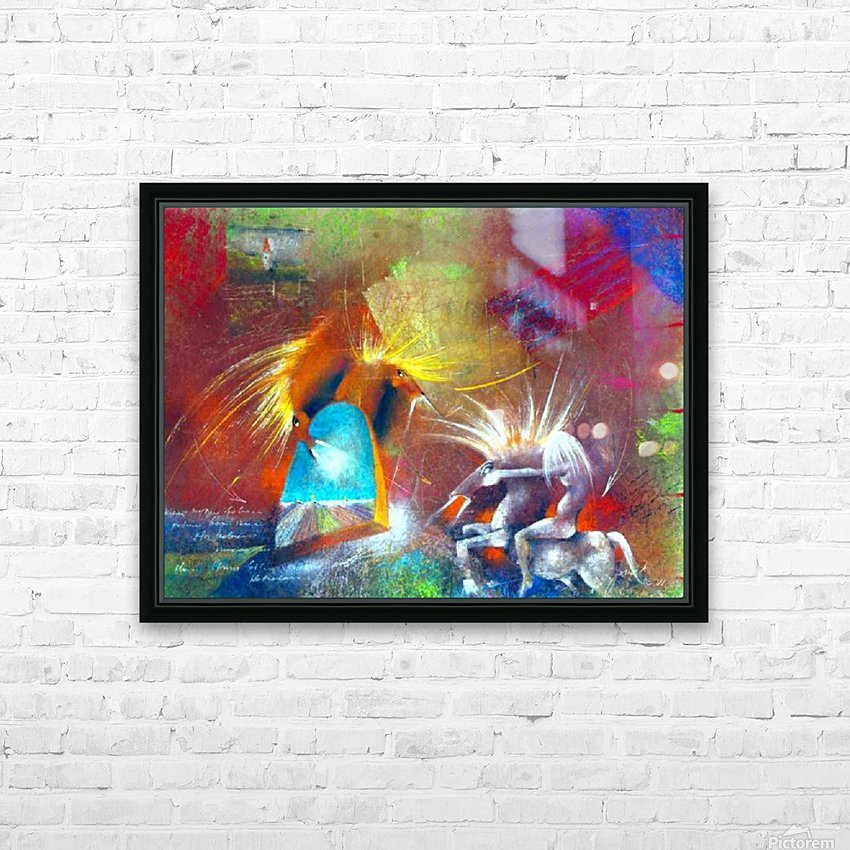 Fight of Dragon Horses HD Sublimation Metal print with Decorating Float Frame (BOX)