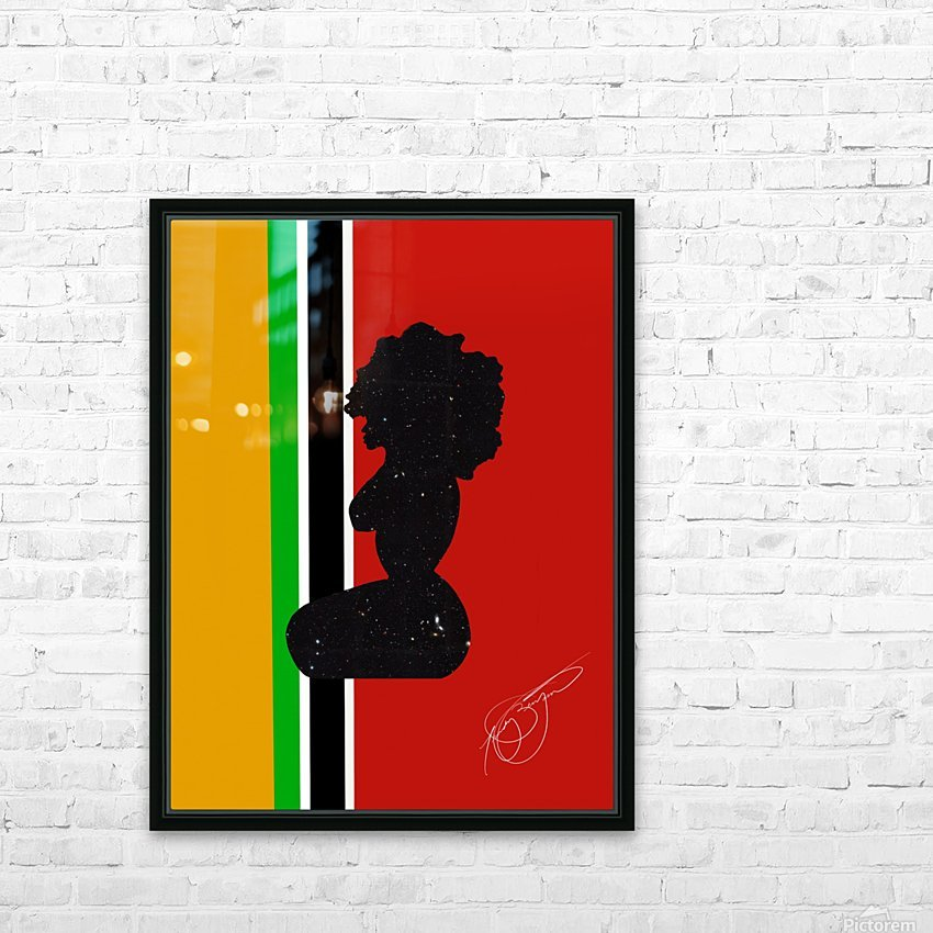 Afrocentric Woman Silhouette- African Flag HD Sublimation Metal print with Decorating Float Frame (BOX)