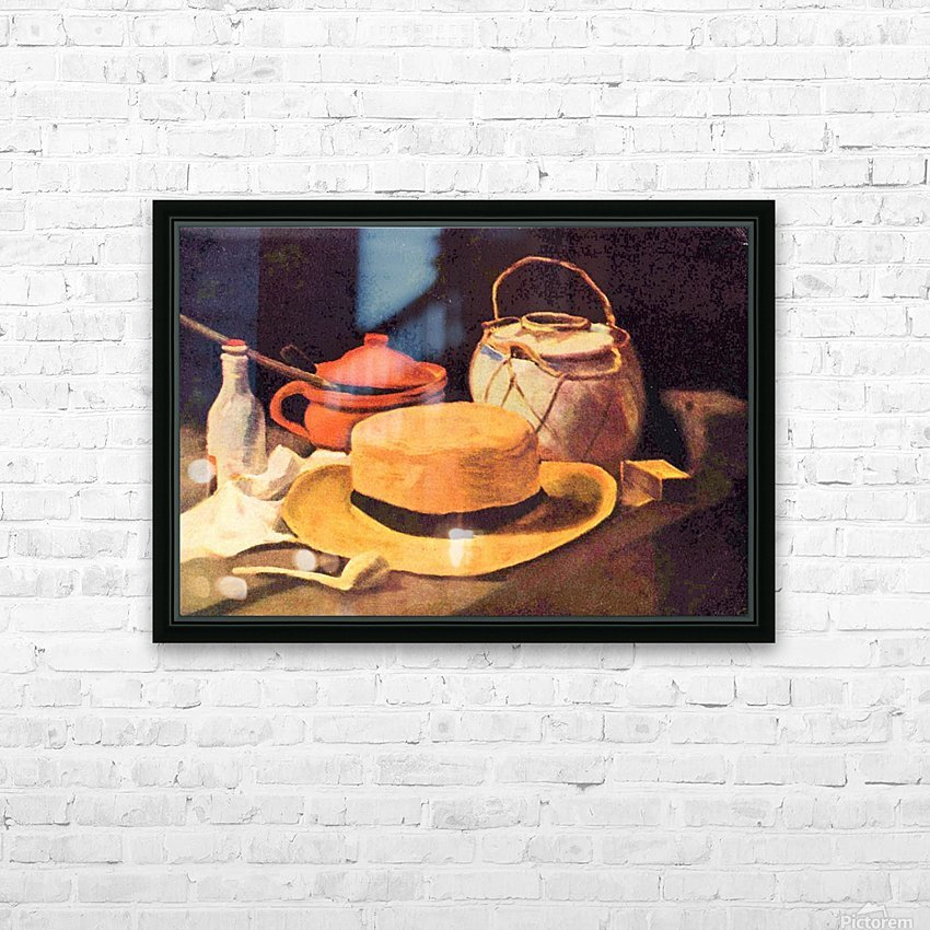 Still Life with Pipe and Straw Hat by Van Gogh HD Sublimation Metal print with Decorating Float Frame (BOX)