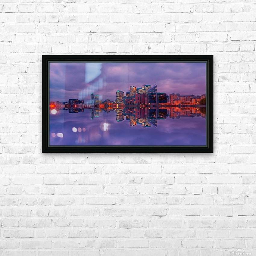LON 009 Canary Wharf Reflection  HD Sublimation Metal print with Decorating Float Frame (BOX)