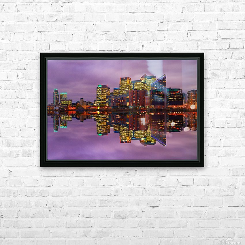 LON 008 Canary Wharf Reflection  HD Sublimation Metal print with Decorating Float Frame (BOX)