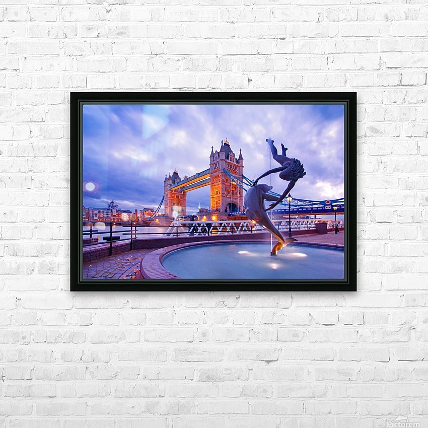 LON 014 Girl with  Dolphin and Tower Bridge HD Sublimation Metal print with Decorating Float Frame (BOX)