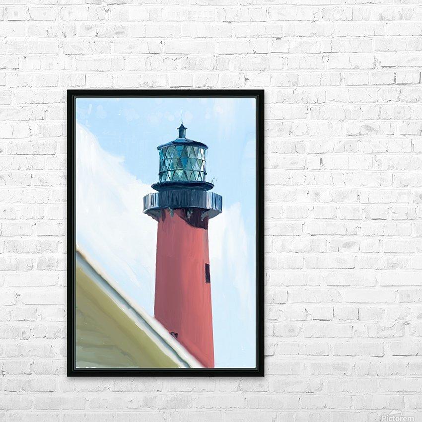 Jupiter Inlet Lighthouse Digital Painting Portrait 52 70 200px HD Sublimation Metal print with Decorating Float Frame (BOX)