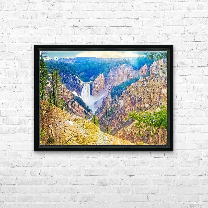 Yellowstone Falls Digital Painting Landscape 52 70 200px HD Sublimation Metal print with Decorating Float Frame (BOX)