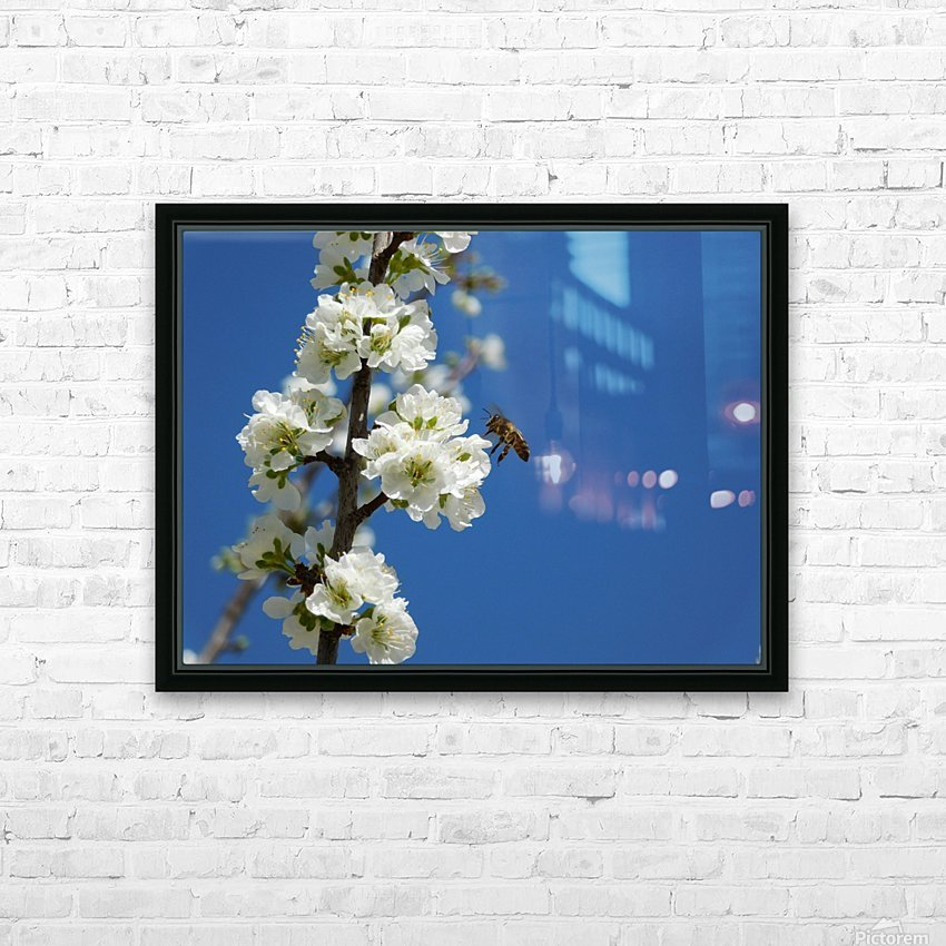 bee and flowers and blue sky HD Sublimation Metal print with Decorating Float Frame (BOX)