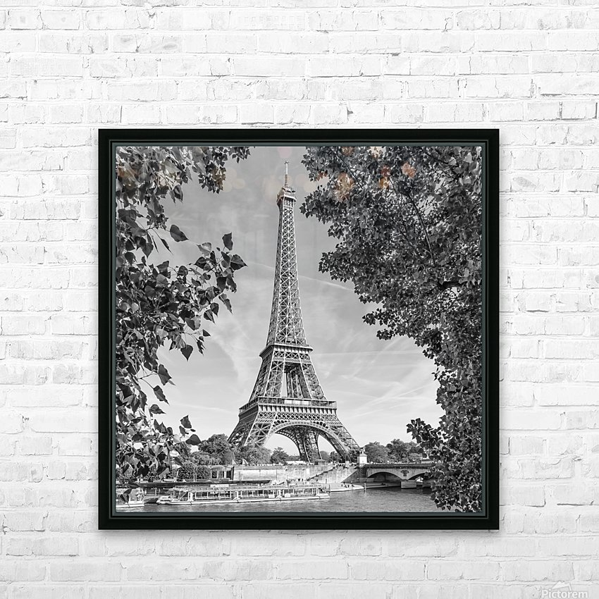 PARIS Eiffel Tower & River Seine   Monochrome HD Sublimation Metal print with Decorating Float Frame (BOX)