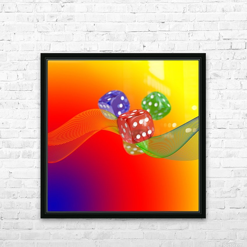 Dice 2 HD Sublimation Metal print with Decorating Float Frame (BOX)