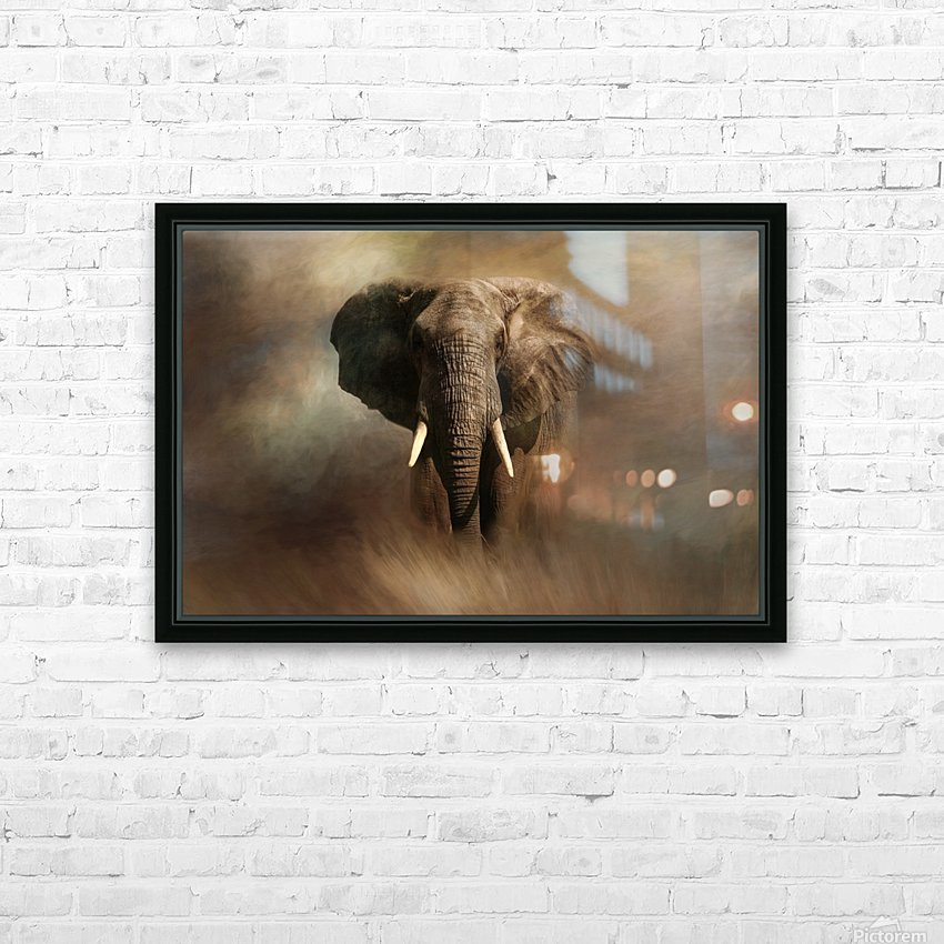 African Elephant HD Sublimation Metal print with Decorating Float Frame (BOX)