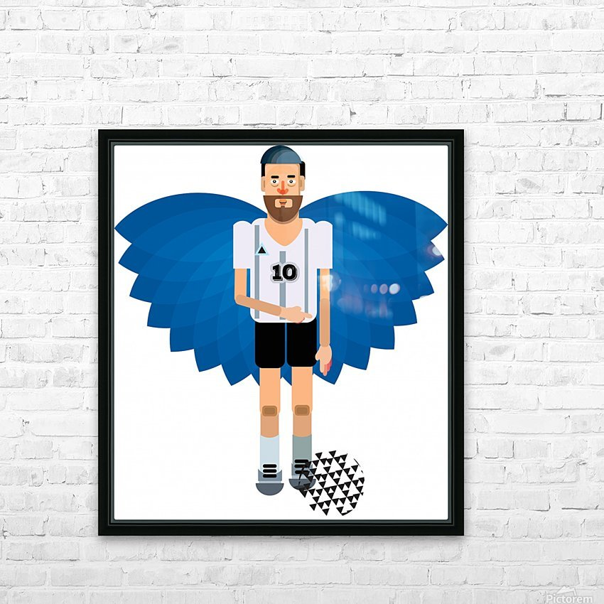 Lionel Messi illustration  HD Sublimation Metal print with Decorating Float Frame (BOX)