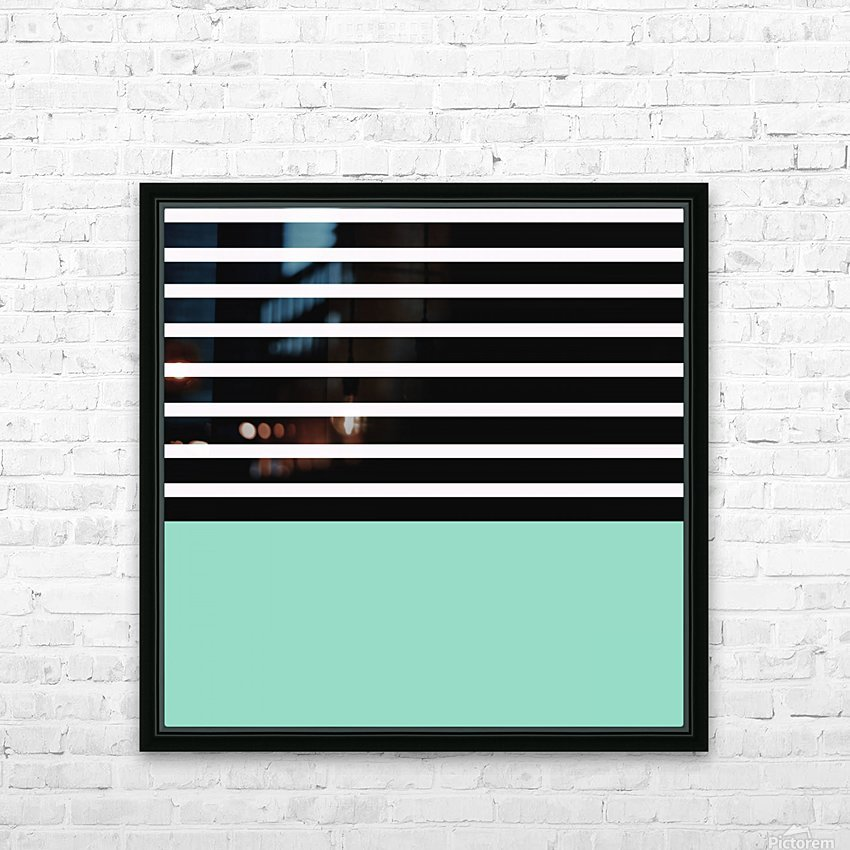 Black & White Stripes with Aquamarine Patch HD Sublimation Metal print with Decorating Float Frame (BOX)