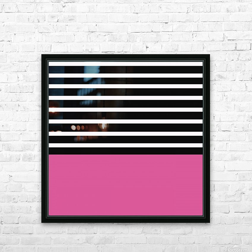 Black & White Stripes with Cranberry Patch HD Sublimation Metal print with Decorating Float Frame (BOX)