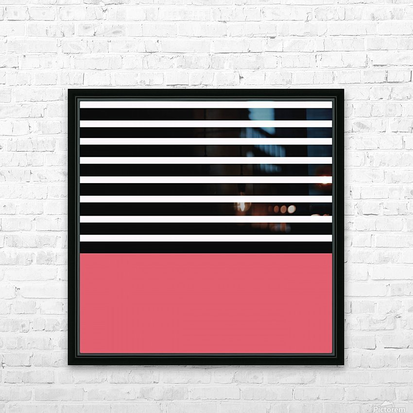Black & White Stripes with Bitter Sweet Patch HD Sublimation Metal print with Decorating Float Frame (BOX)