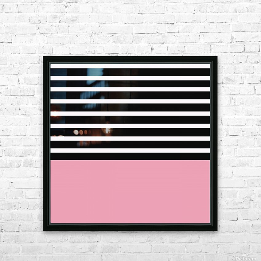 Black & White Stripes with Pacific Rose Patch HD Sublimation Metal print with Decorating Float Frame (BOX)