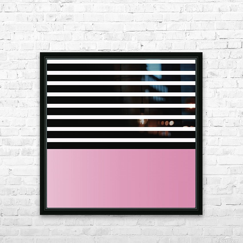 Black & White Stripes with Baby Pink Patch HD Sublimation Metal print with Decorating Float Frame (BOX)