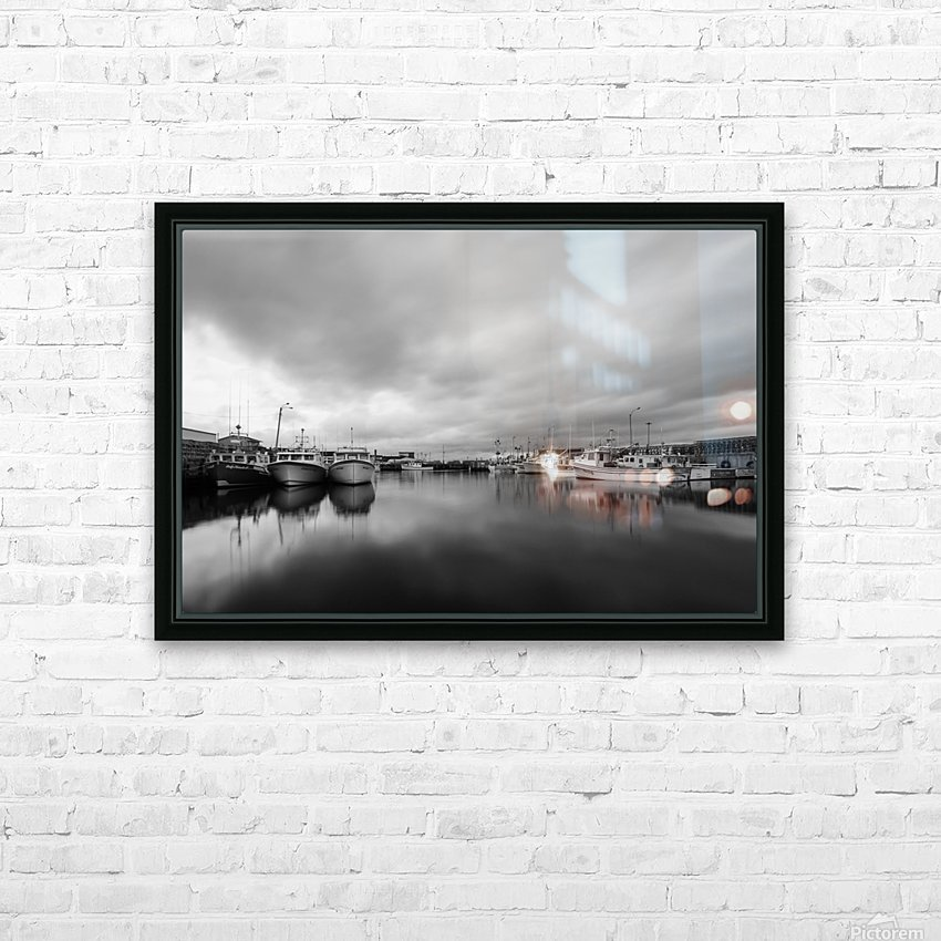 Monochrome harbor HD Sublimation Metal print with Decorating Float Frame (BOX)