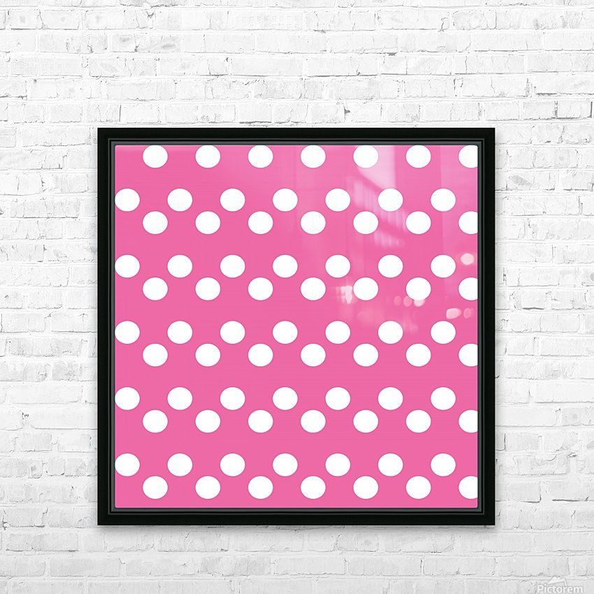 HOT PINK Polka Dots HD Sublimation Metal print with Decorating Float Frame (BOX)