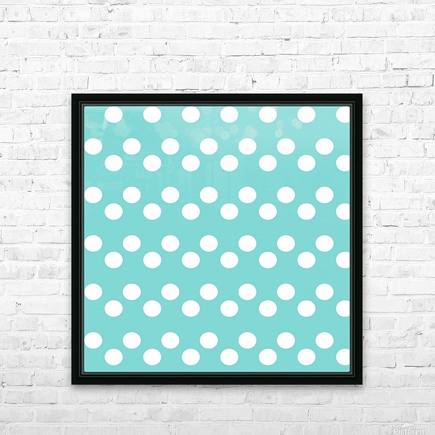 MINT Polka Dots HD Sublimation Metal print with Decorating Float Frame (BOX)