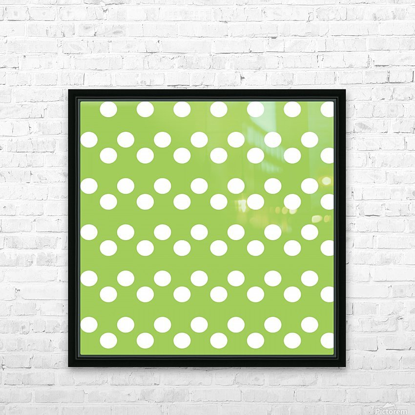 Dark Olive Green Polka Dots HD Sublimation Metal print with Decorating Float Frame (BOX)