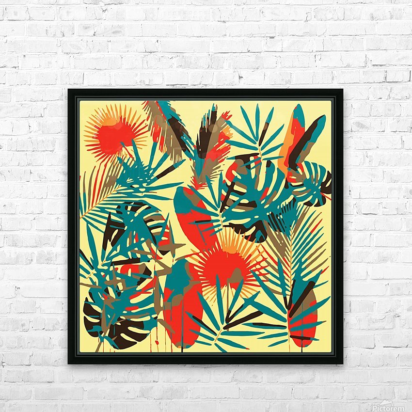 Colorful Abstract Tropical Leaves  HD Sublimation Metal print with Decorating Float Frame (BOX)