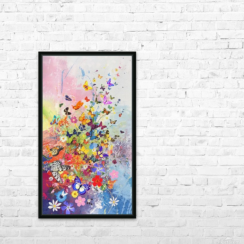 Butterflies and Flowers  HD Sublimation Metal print with Decorating Float Frame (BOX)