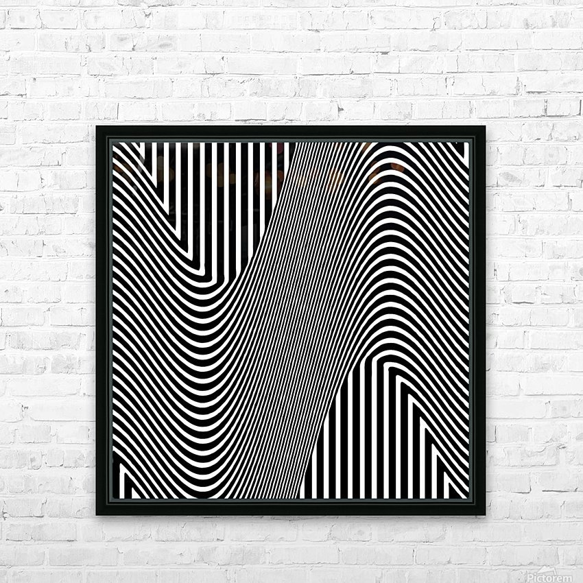 Black and White Abstract Geometric Design 1 HD Sublimation Metal print with Decorating Float Frame (BOX)