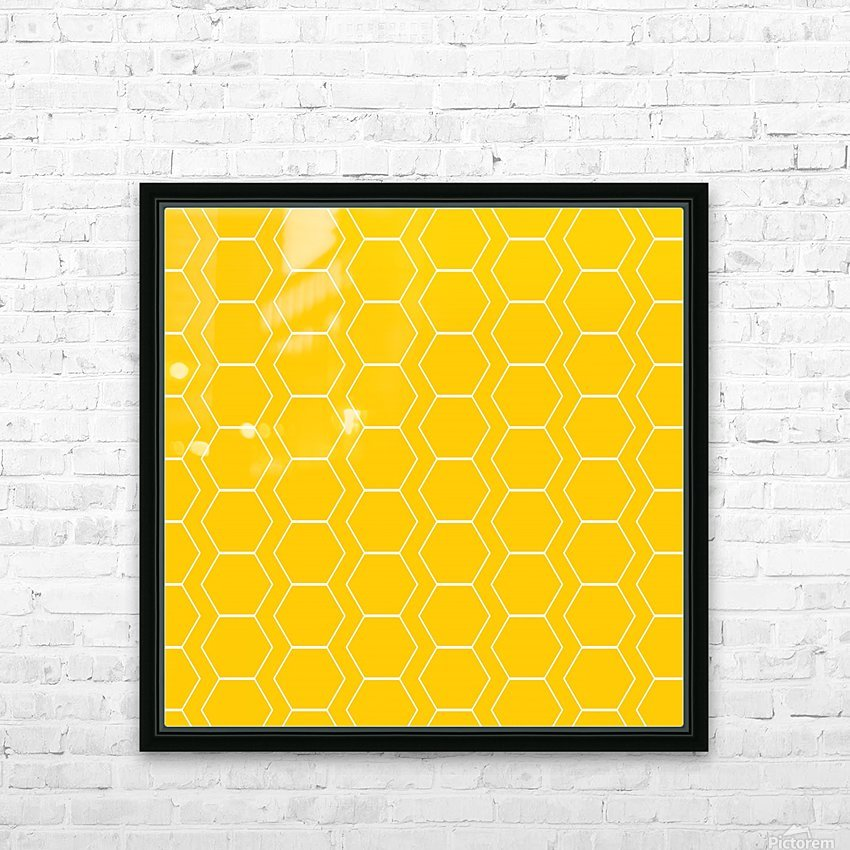 Yellow  White Hexagen HD Sublimation Metal print with Decorating Float Frame (BOX)