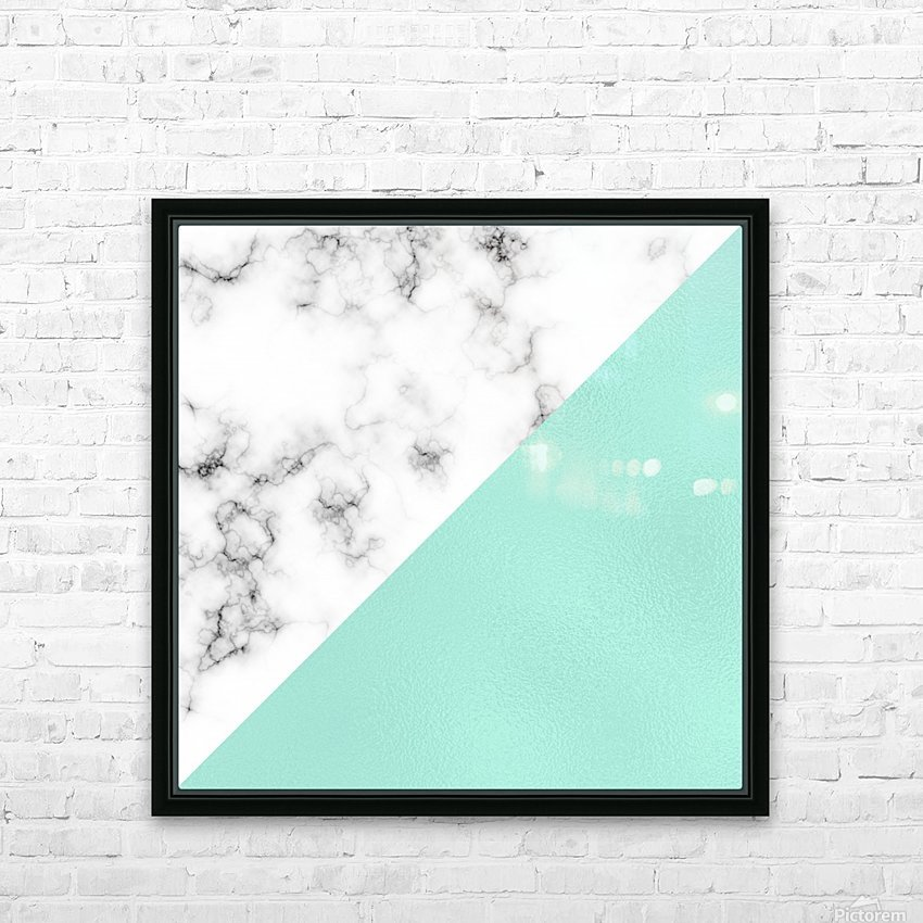 ABSTRACT MODERN TURQUOISE GLASS MARBLE HD Sublimation Metal print with Decorating Float Frame (BOX)