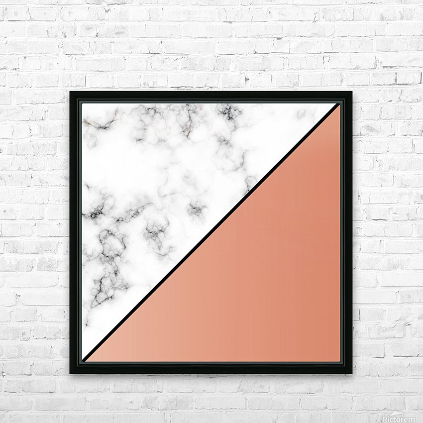 ABSTRACT MODERN ORANGE MARBLE HD Sublimation Metal print with Decorating Float Frame (BOX)