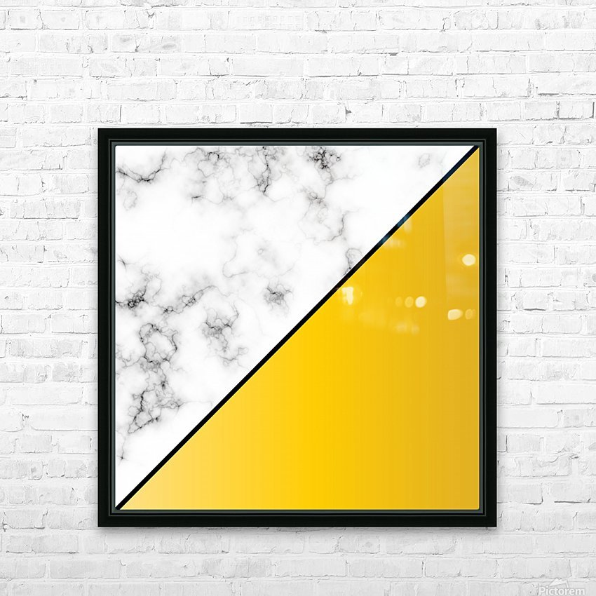 ABSTRACT MODERN YELLOW MARBLE HD Sublimation Metal print with Decorating Float Frame (BOX)