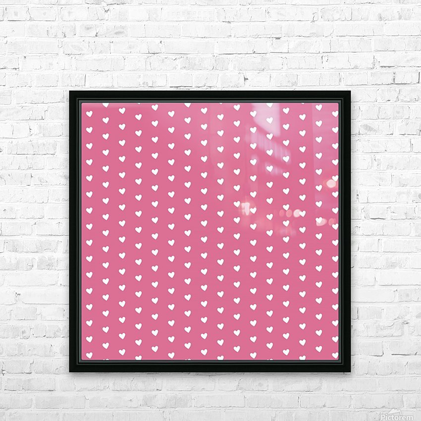 Pale Violet Red Heart Shape Pattern HD Sublimation Metal print with Decorating Float Frame (BOX)