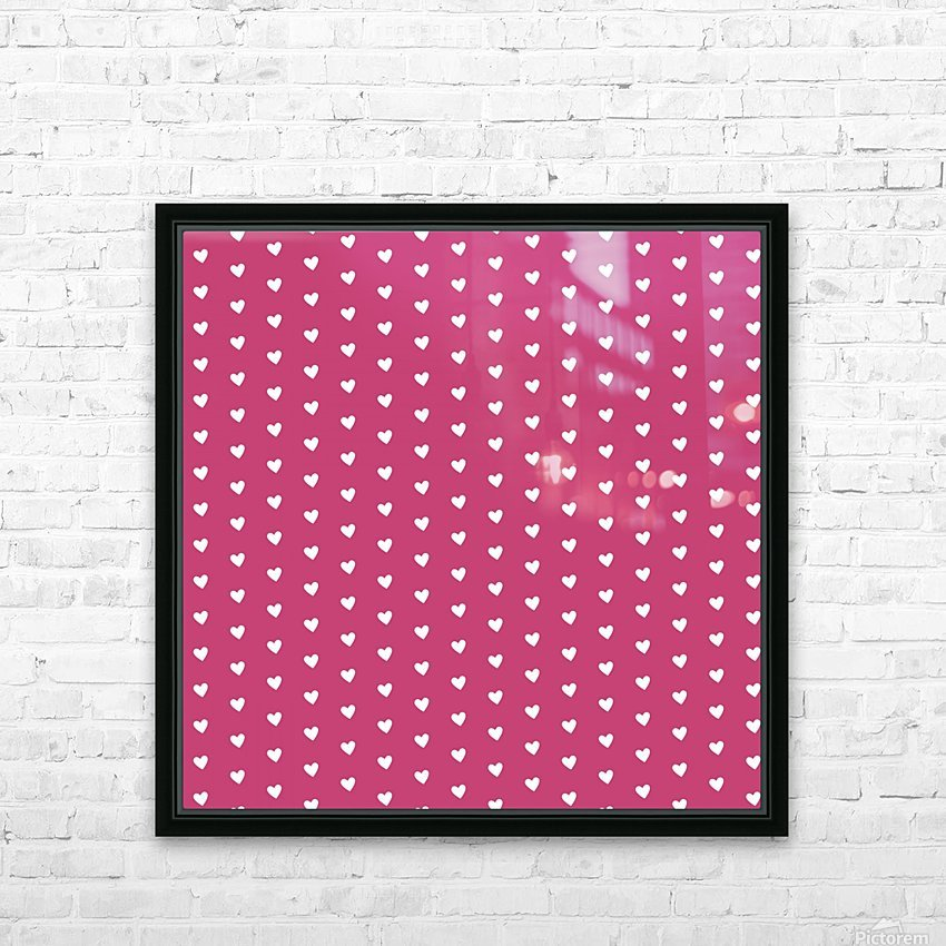 Fuchsia Rose Heart Shape Pattern HD Sublimation Metal print with Decorating Float Frame (BOX)