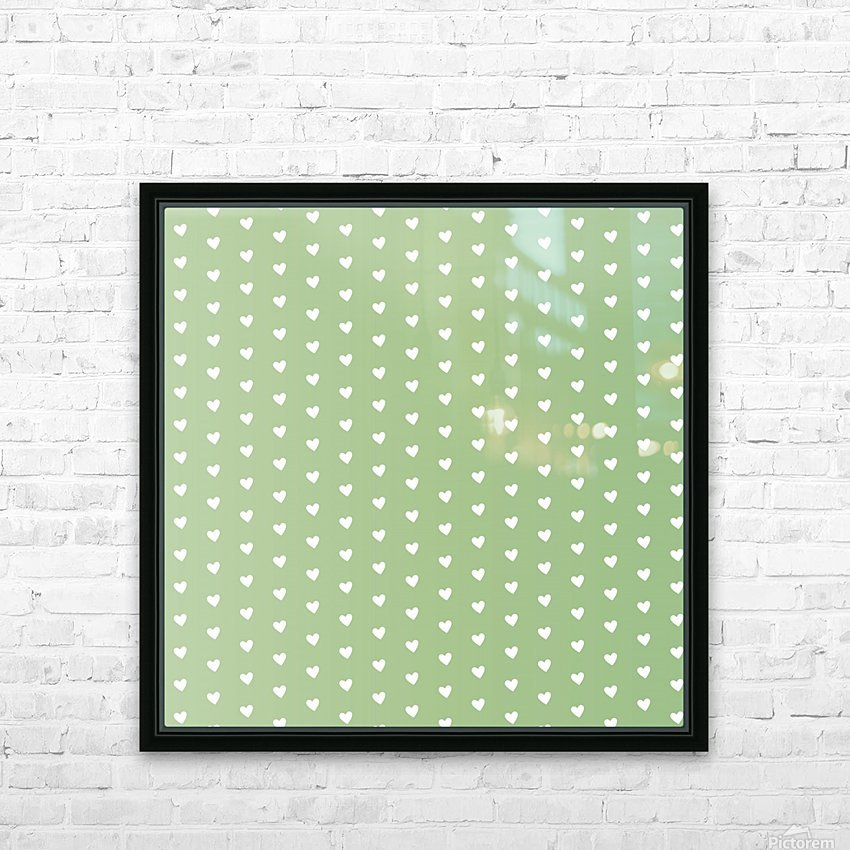 Green Blush Heart Shape Pattern HD Sublimation Metal print with Decorating Float Frame (BOX)