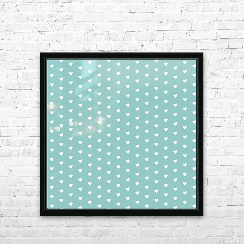 Play Green Heart Shape Pattern HD Sublimation Metal print with Decorating Float Frame (BOX)