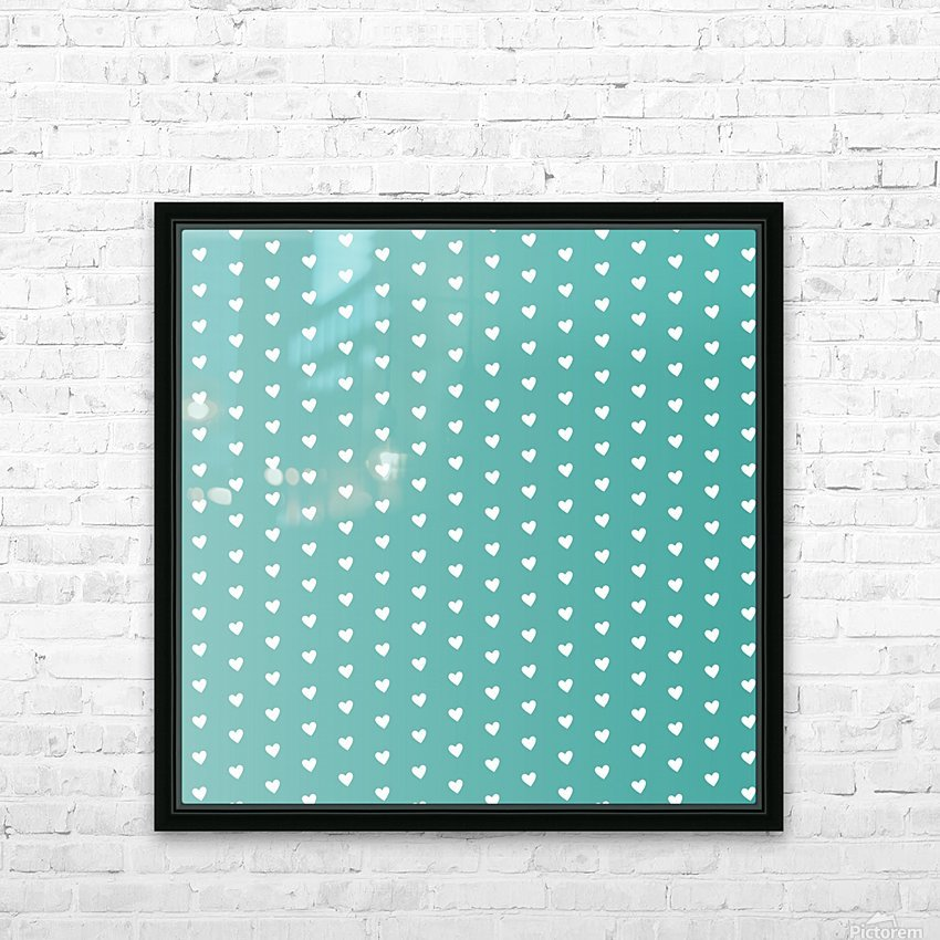 Teal Green Heart Shape Pattern HD Sublimation Metal print with Decorating Float Frame (BOX)