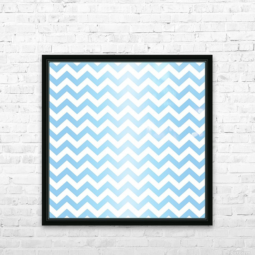 BLUE  PASTEL CHEVRON HD Sublimation Metal print with Decorating Float Frame (BOX)