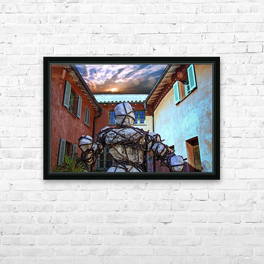 Stone Man in Courtyard HD Sublimation Metal print with Decorating Float Frame (BOX)