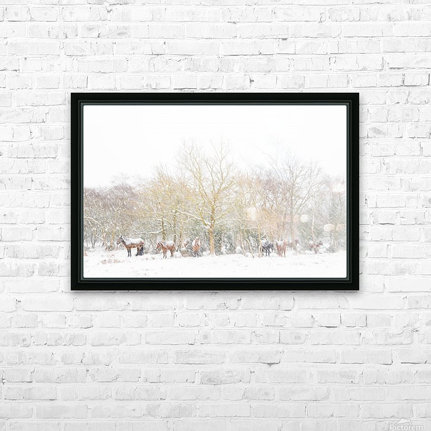 SNOW HORSES 3. HD Sublimation Metal print with Decorating Float Frame (BOX)