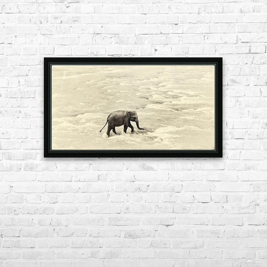 RIVER ELEPHANTS 5. HD Sublimation Metal print with Decorating Float Frame (BOX)