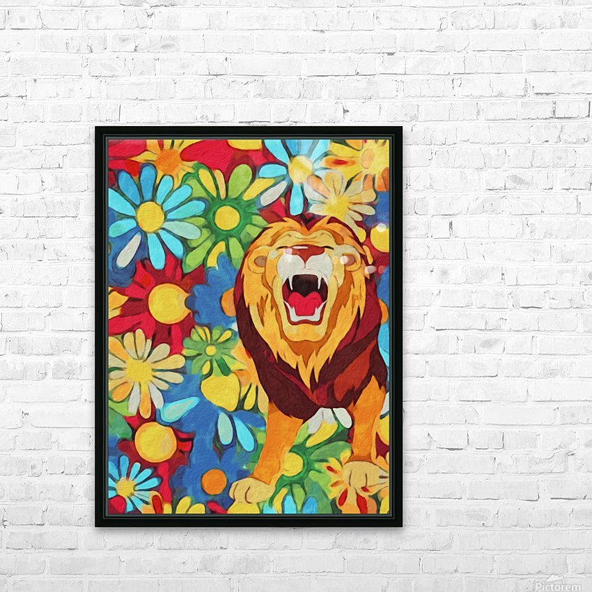 Lion and Flowers Fantasy  HD Sublimation Metal print with Decorating Float Frame (BOX)