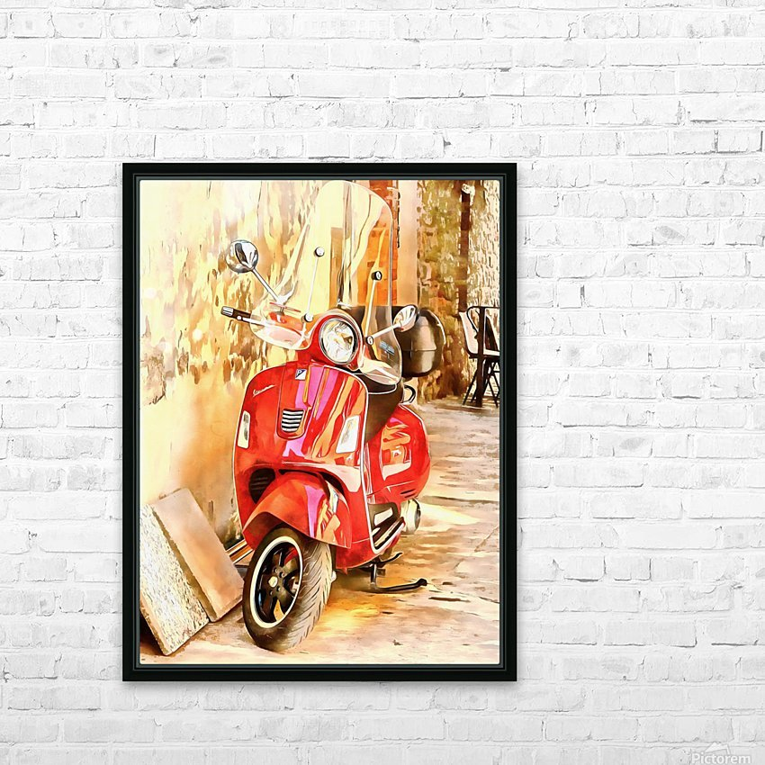 The Red Vespa HD Sublimation Metal print with Decorating Float Frame (BOX)