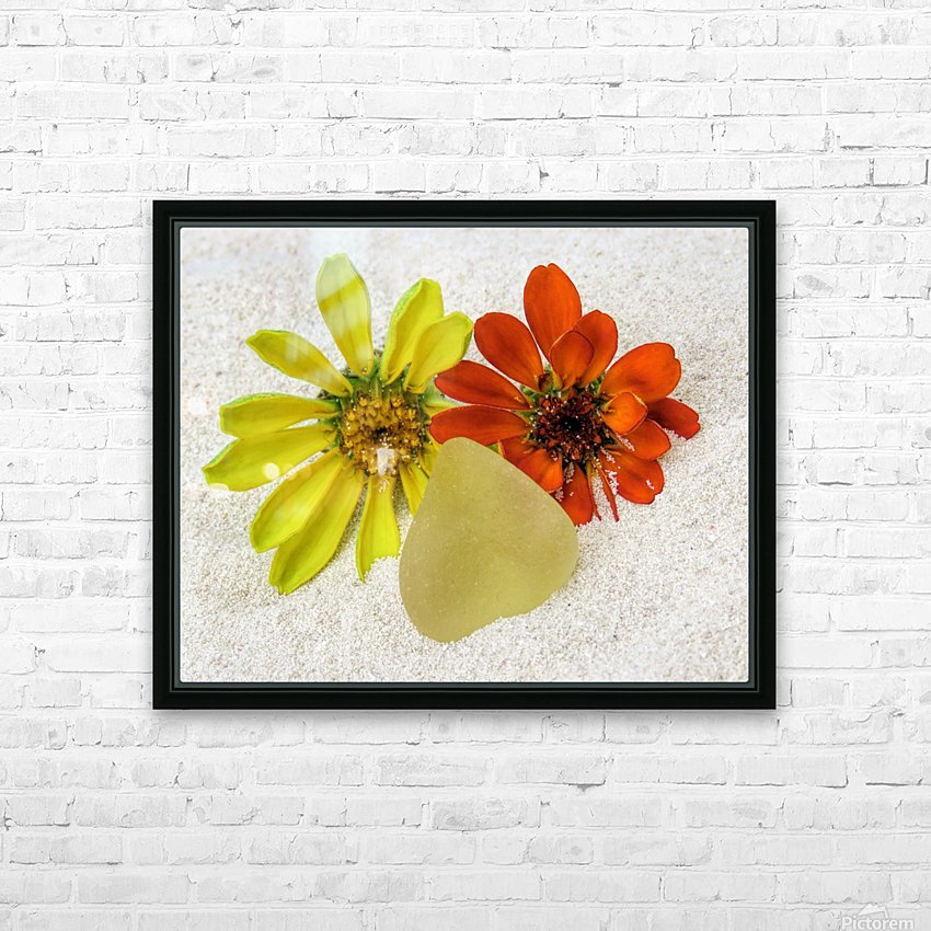 Pale yellow sea glass and zinnias HD Sublimation Metal print with Decorating Float Frame (BOX)