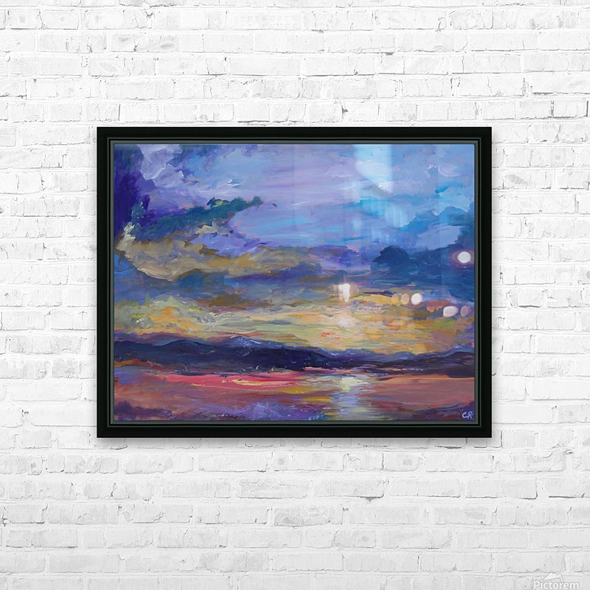Colorado sunset over lake HD Sublimation Metal print with Decorating Float Frame (BOX)