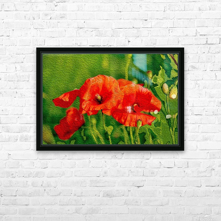 Red Poppies HD Sublimation Metal print with Decorating Float Frame (BOX)