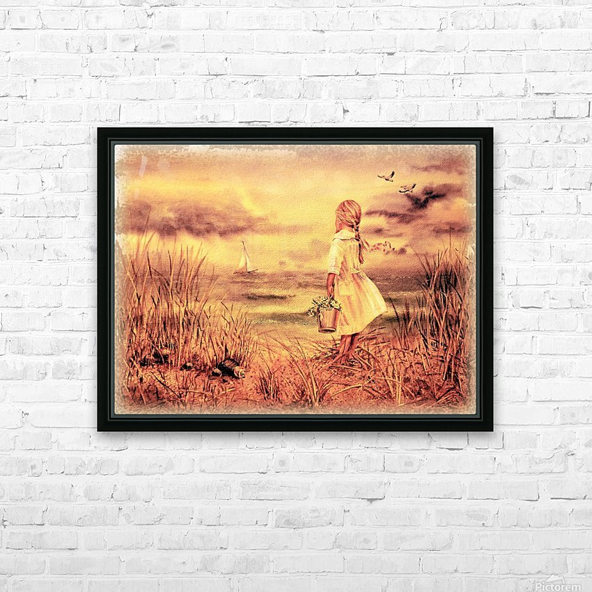 Vintage Watercolor Painting Girl And Ocean HD Sublimation Metal print with Decorating Float Frame (BOX)